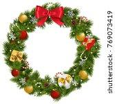 vector christmas wreath with... | Shutterstock .eps vector #769073419