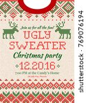 ugly sweater merry christmas... | Shutterstock .eps vector #769076194