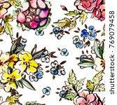 watercolor flower seamless... | Shutterstock . vector #769079458