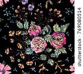 watercolor flower seamless... | Shutterstock . vector #769080514