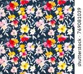 watercolor flower seamless... | Shutterstock . vector #769081039