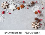 christmas background with twigs ... | Shutterstock . vector #769084054