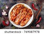 preparing cabbage kimchi....   Shutterstock . vector #769087978
