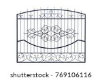 metal  wrought fencing.... | Shutterstock . vector #769106116