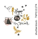 happy new 2018 year funny... | Shutterstock .eps vector #769111174