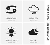 set of 4 editable climate icons....