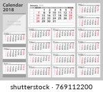 calendar 2018 starting from... | Shutterstock .eps vector #769112200