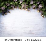 christmas border with fir... | Shutterstock . vector #769112218