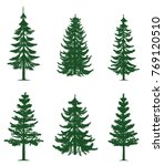 green pine trees collection | Shutterstock .eps vector #769120510
