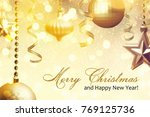 christmas background with... | Shutterstock . vector #769125736
