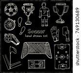 hand drawn doodle soccer set.... | Shutterstock .eps vector #769130689