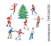 set of various people in santa... | Shutterstock .eps vector #769134220