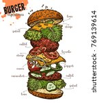 sketch monster burger with... | Shutterstock .eps vector #769139614