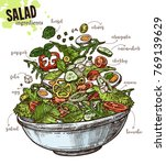 sketch vegetables salad with...   Shutterstock .eps vector #769139629