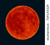 red blood full moon isolated on ... | Shutterstock .eps vector #769145329