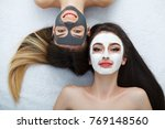 home spa. two women holding...   Shutterstock . vector #769148560