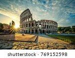 view of colloseum at sunrise ... | Shutterstock . vector #769152598
