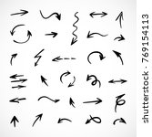 hand drawn arrows  vector set | Shutterstock .eps vector #769154113