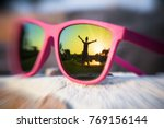 excited girl with hands wide... | Shutterstock . vector #769156144