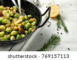 Frying Pan With Roasted Brusse...