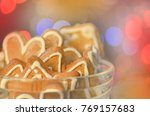background with gingerbread... | Shutterstock . vector #769157683