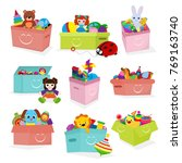 kids toys box vector baby... | Shutterstock .eps vector #769163740