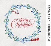merry christmas greeting card... | Shutterstock . vector #769175293