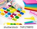 child doing homework for school ...   Shutterstock . vector #769178893
