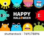 happy halloween greeting card.... | Shutterstock . vector #769178896