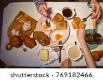 breakfast  view from the top.... | Shutterstock . vector #769182466