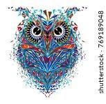 kaleidoscopic owl in red blue... | Shutterstock .eps vector #769189048