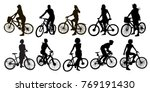 set of bicyclists silhouettes | Shutterstock .eps vector #769191430