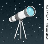 telescope with night sky flat... | Shutterstock .eps vector #769196449