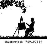 artist painter woman in park...   Shutterstock .eps vector #769197559