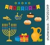 jewish holiday of hanukkah ... | Shutterstock .eps vector #769201549