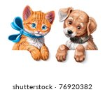 Cartoon Banner With Kitten And...