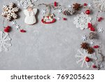 christmas background with twigs ... | Shutterstock . vector #769205623
