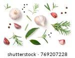 garlic  rosemary  bay leaves ... | Shutterstock . vector #769207228