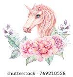 watercolor cute unicorn. floral ... | Shutterstock . vector #769210528