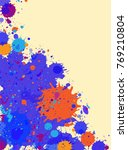 dark blue with orange drops...   Shutterstock . vector #769210804