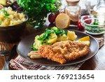 homemade breaded viennese... | Shutterstock . vector #769213654
