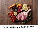 raw goose leg and fresh... | Shutterstock . vector #769213870