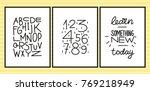 set of three minimalistic black ... | Shutterstock .eps vector #769218949