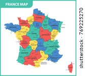 the detailed map of the france...   Shutterstock .eps vector #769225270