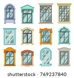 retro wood or wooden window... | Shutterstock .eps vector #769237840