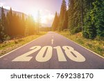 empty asphalt road and new year ... | Shutterstock . vector #769238170