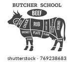 cow butcher diagram. cutting... | Shutterstock .eps vector #769238683