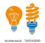 incandescent light bulb and... | Shutterstock .eps vector #769243090