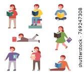 children reading books in... | Shutterstock .eps vector #769247308