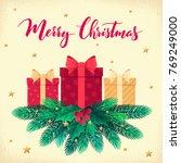 christmas template with fir...   Shutterstock .eps vector #769249000